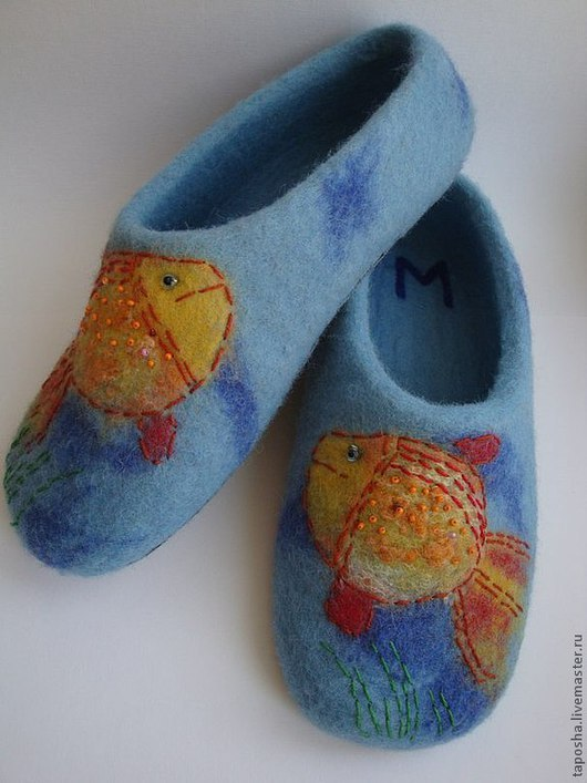 """Обувь ручной работы. Ярмарка Мастеров - ручная работа. Купить Тапочки валяные """"Золотая рыбка"""". Handmade. Голубой"""