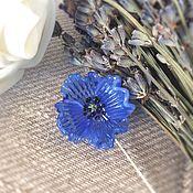 Украшения handmade. Livemaster - original item Brooch pin blue poppy . Glass lampwork. Handmade.