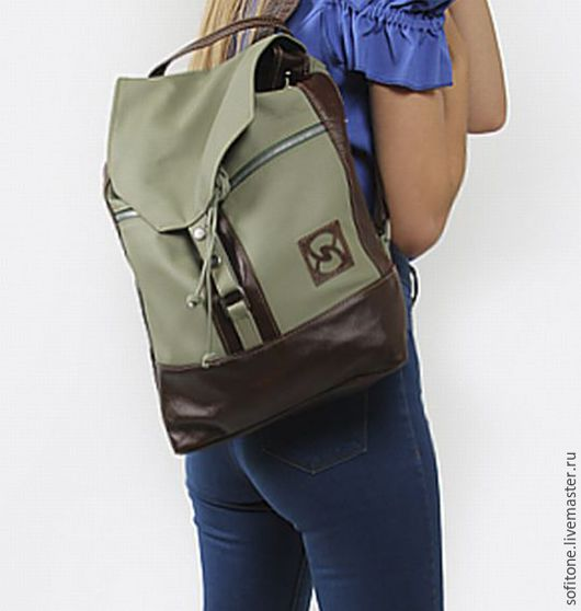 Рюкзаки ручной работы. Ярмарка Мастеров - ручная работа. Купить Кожаный рюкзак оливковый с коричневым. Handmade. Коричневый рюкзак
