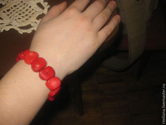 Браслеты ручной работы. Ярмарка Мастеров - ручная работа. Купить Коралловый браслет. Натуральный коралл.. Handmade. Красный цвет