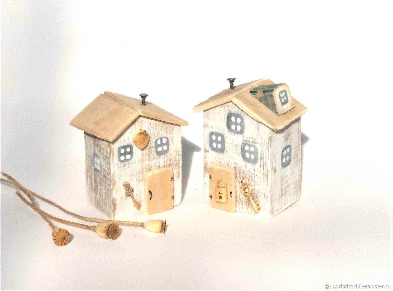 Белые домики дрифтвуд Ключ от сердца Ключ от дома 7 см, Домики, Москва,  Фото №1