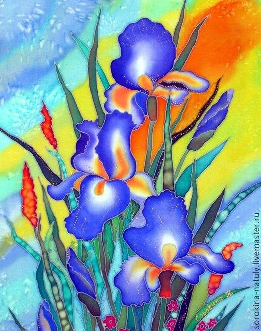 Картина батик Ирисы сине-фиолетовые. Эти прекрасные цветы радуют нас с конца мая. весь июнь и до середины июля. Сорокина Наталья для Вас с любовью !