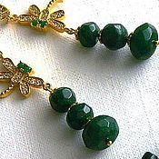 Украшения handmade. Livemaster - original item emerald. gold plated set of