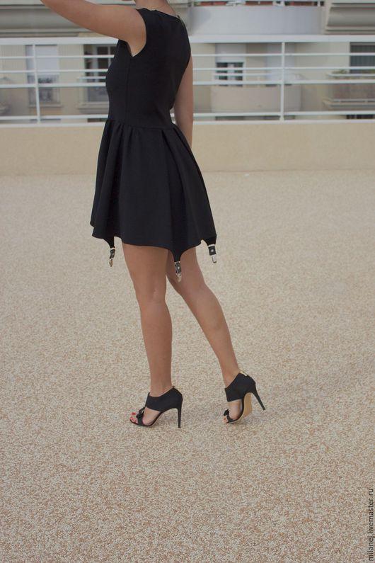 Платья ручной работы. Ярмарка Мастеров - ручная работа. Купить черное трикотажное платье с подвязками. Handmade. Черный, женские подтяжки