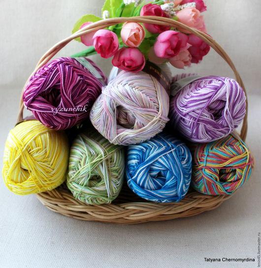 Вязание ручной работы. Ярмарка Мастеров - ручная работа. Купить Пряжа COCO vita cotton print 7 цветов. Handmade.