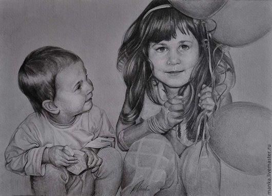 Люди, ручной работы. Ярмарка Мастеров - ручная работа. Купить Портрет по фото на заказ в Нижнем Новгороде. Handmade. Чёрно-белый