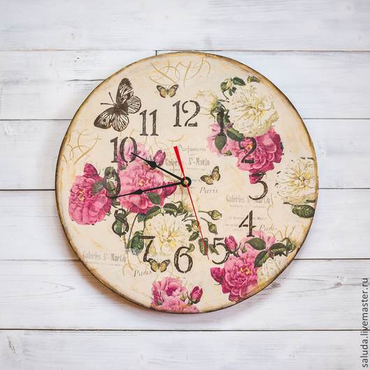 Часы для дома ручной работы. Ярмарка Мастеров - ручная работа. Купить Часы настенные «Винтажные розы». Handmade. Бордовый, подарок