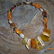 """Колье ручной работы. Ярмарка Мастеров - ручная работа Ожерелье """"Оранжевое солнце""""крупн.массив.натур.камни,авт.работа. Handmade."""