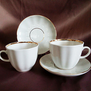 Посуда ручной работы. Ярмарка Мастеров - ручная работа Кофейная пара ИФЗ форма Тюльпан, Белоснежка. Handmade.