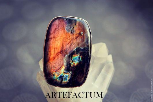 Кольца ручной работы. Ярмарка Мастеров - ручная работа. Купить Макси кольцо со спектролитом.(серебро 925) 19 размер.. Handmade.