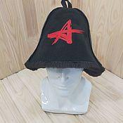 Дача и сад handmade. Livemaster - original item Bath hat made of sheepskin with embroidery. Handmade.