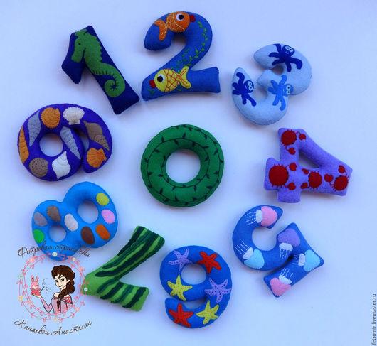 Развивающие игрушки ручной работы. Ярмарка Мастеров - ручная работа. Купить Цифры из фетра - Подводный мир (на магнитах). Handmade.