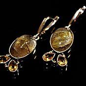 Украшения ручной работы. Ярмарка Мастеров - ручная работа Серьги  кварц волосатик в серебре. Handmade.