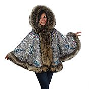 Одежда handmade. Livemaster - original item Poncho with a raccoon from the scarf