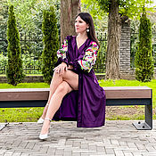 Одежда handmade. Livemaster - original item Velvet Dress Silk-lined, Exclusive Embroidery Purple dress. Handmade.