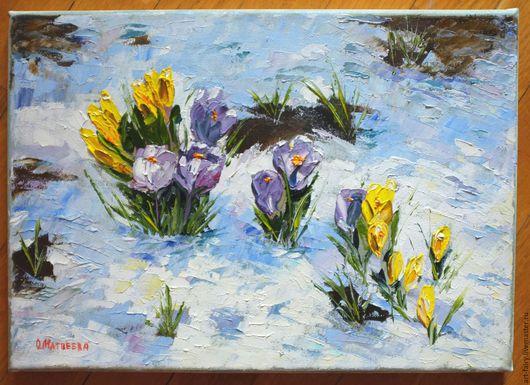 """Картины цветов ручной работы. Ярмарка Мастеров - ручная работа. Купить """"Весна. Крокусы"""". Handmade. Голубой, картина в подарок"""