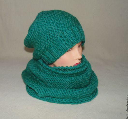 Комплекты аксессуаров ручной работы. Ярмарка Мастеров - ручная работа. Купить Комплект шапка бини и снуд крупной вязкой. Handmade.