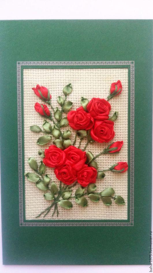 """Открытки для женщин, ручной работы. Ярмарка Мастеров - ручная работа. Купить Открытка вышитая лентами """"Букет роз"""". Handmade. букет"""