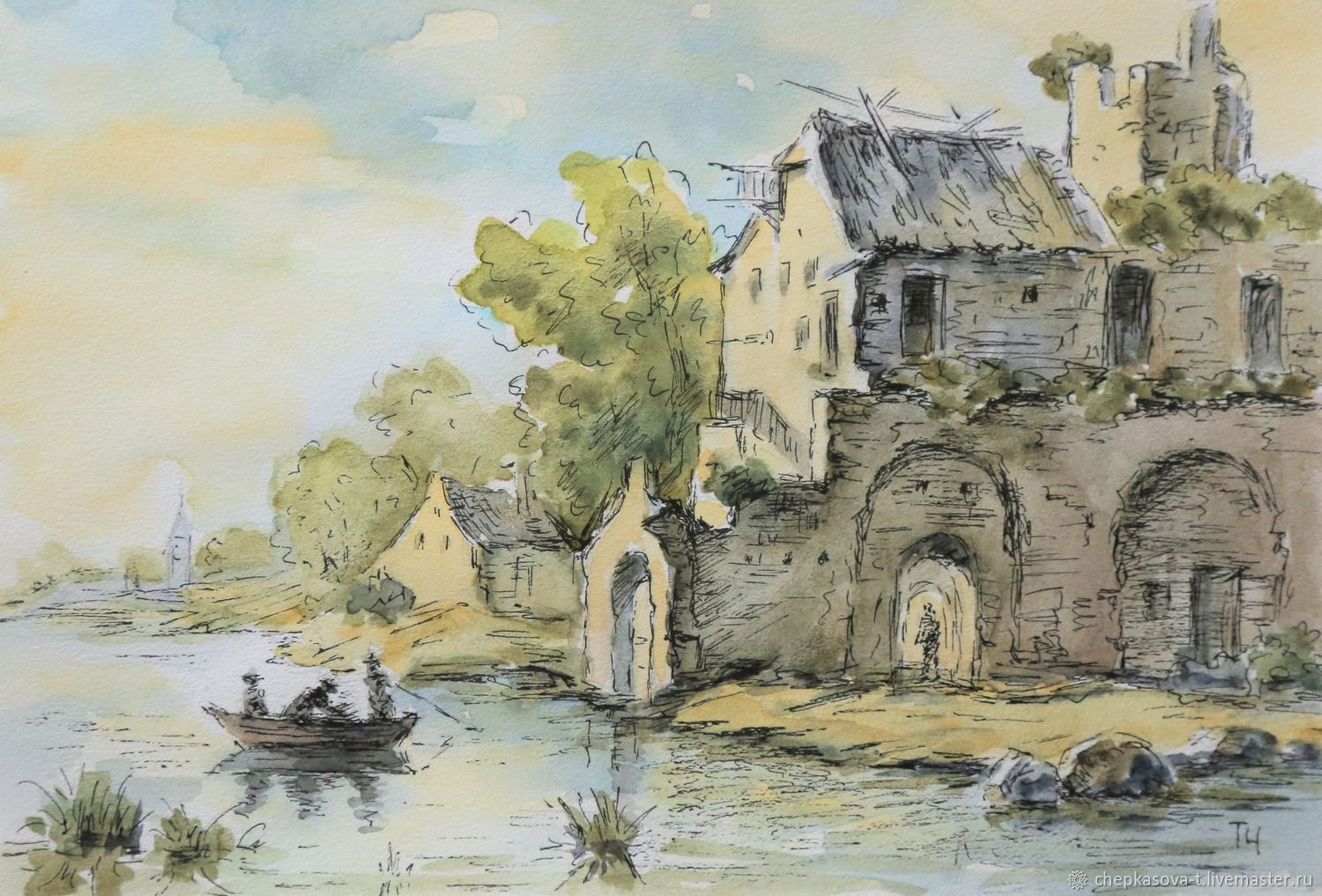 Watercolor ruins of the castle on the Bank of the canal, Pictures, Moscow,  Фото №1