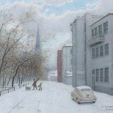 Дизайн и реклама manualidades. Livemaster - hecho a mano Pintura reproducción Moscú Petroverigsky Lane. Handmade.