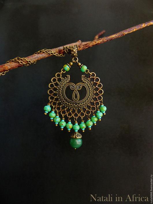 """Кулоны, подвески ручной работы. Ярмарка Мастеров - ручная работа. Купить Подвеска """"Tikal"""" - нефрит, чешское стекло. Handmade."""