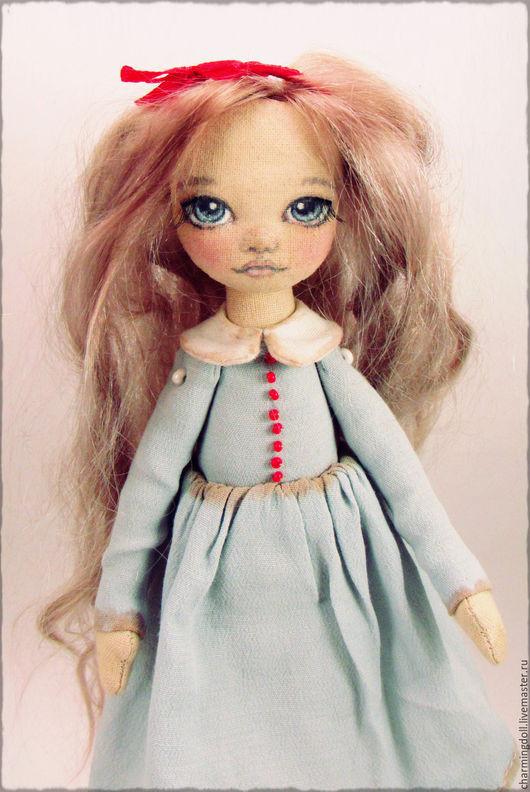 Человечки ручной работы. Ярмарка Мастеров - ручная работа. Купить Авторская текстильная кукла. Handmade. Текстильная кукла, голубой, пуговицы