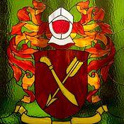 """Для дома и интерьера ручной работы. Ярмарка Мастеров - ручная работа Витраж тиффани """"Семейный герб"""". Handmade."""