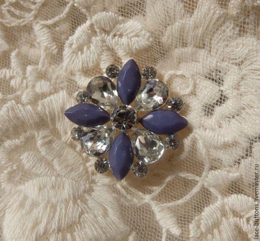 Шитье ручной работы. Ярмарка Мастеров - ручная работа. Купить Пуговица с серо-голубыми кристаллами 2,5см. Handmade. Пуговицы
