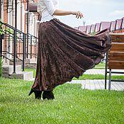 Одежда ручной работы. Ярмарка Мастеров - ручная работа V_021 Юбка-солнце бархатная на резинке, с отделкой из кружева, цвет ко. Handmade.