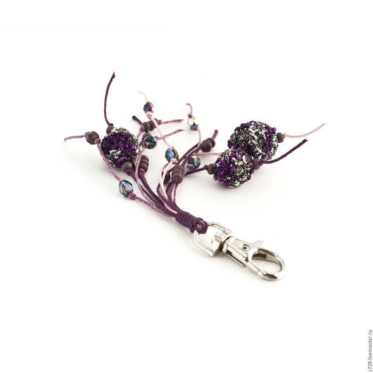 брелок, брелок для ключей, брелок на сумку, брелок для сумки, брелок на ключи, брелоки, вязаные украшения, небольшой подарок, фиолетовый, яркий аксессуар, аксессуары ручной работы, Аксессуары handmade