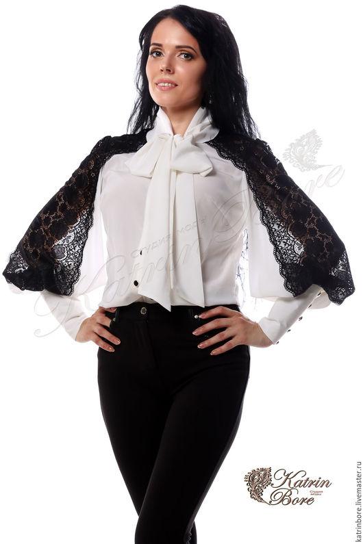"""Блузки ручной работы. Ярмарка Мастеров - ручная работа. Купить Блузка из шелка и кружева """"Черным по белому"""". Handmade. Чёрно-белый"""