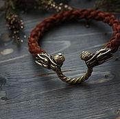Украшения handmade. Livemaster - original item Leather braided bracelet with bronze wolves. Handmade.