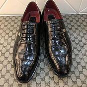 Обувь ручной работы handmade. Livemaster - original item Classic men`s Derby, with crocodile leather laces.. Handmade.