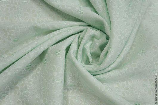 Шитье ручной работы. Ярмарка Мастеров - ручная работа. Купить Ткань плат. хлопок с вышивкой 642/3, 150 см, ментол. Handmade.