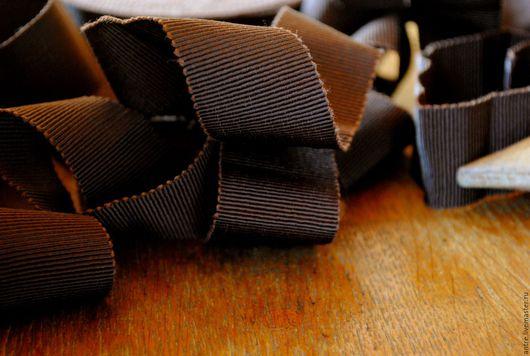 """Шитье ручной работы. Ярмарка Мастеров - ручная работа. Купить Репсовая лента 100% хлопок """"Черный шоколад"""" (Италия). Handmade."""