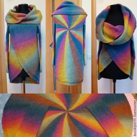 Кофты и свитера ручной работы. Ярмарка Мастеров - ручная работа. Купить кардиган-трансформер круглый из шерсти. Handmade. Разноцветный
