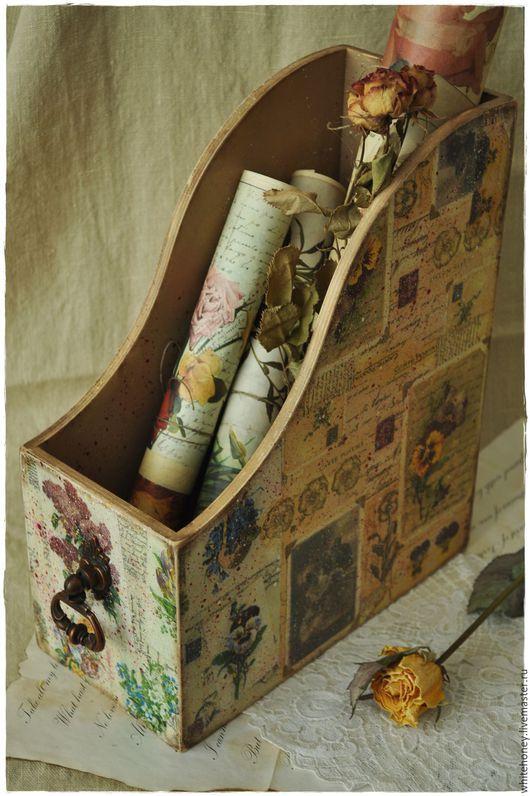 """Журнальницы ручной работы. Ярмарка Мастеров - ручная работа. Купить Журнальница """"Старые письма"""". Handmade. Комбинированный, салфетки для декупажа"""