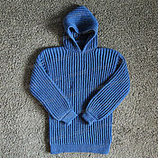 Одежда handmade. Livemaster - original item Knitted sweater with a hood, denim (No. №437). Handmade.