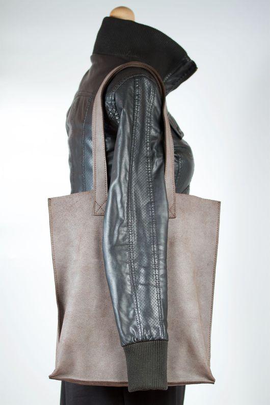 Женские сумки ручной работы. Ярмарка Мастеров - ручная работа. Купить Большая кожаная сумка. Handmade. Коричневый, сумка большая