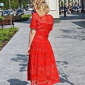 """Одежда ручной работы. Ярмарка Мастеров - ручная работа """"Листопад"""" вязаное крючком кружевное платье с пуговками. Handmade."""