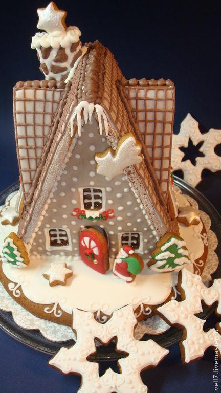 """Кулинарные сувениры ручной работы. Ярмарка Мастеров - ручная работа. Купить пряничный домик """" Веселое рождество"""". Handmade."""