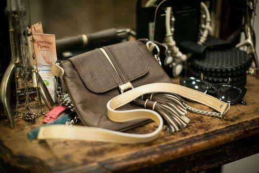 Женские сумки ручной работы. Ярмарка Мастеров - ручная работа. Купить Кожаная сумочка с кистями кросс-боди. Handmade. Сумка