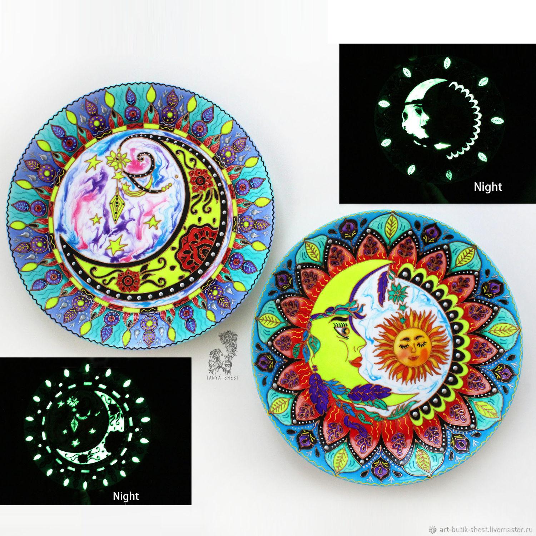 """Тарелки ручной работы. Ярмарка Мастеров - ручная работа. Купить """"Ночные сны"""" набор тарелок на стену - светятся в темноте. Handmade."""