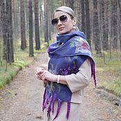Аксессуары handmade. Livemaster - original item Scarf felted. Warm delicate silk scarf with Lilac fleece. Handmade.