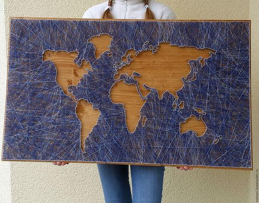 Подвески ручной работы. Ярмарка Мастеров - ручная работа. Купить Карта мира. Handmade. Комбинированный, подарок на любой случай, нитки