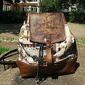 Сумки и аксессуары handmade. Livemaster - original item Backpack leather and tapestry. Handmade.