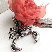 Канцелярские товары handmade. Livemaster - original item Bookmark Scorpio with fabric flower.. Handmade.