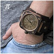 Украшения handmade. Livemaster - original item Petroglif EU mechanical watch Bronze Steampunk Square. Handmade.