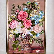 Картины и панно handmade. Livemaster - original item Pictures: Embroidery with ribbons