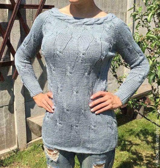 Кофты и свитера ручной работы. Ярмарка Мастеров - ручная работа. Купить Удлиненный свитер ручной вязки. Handmade. Морская волна